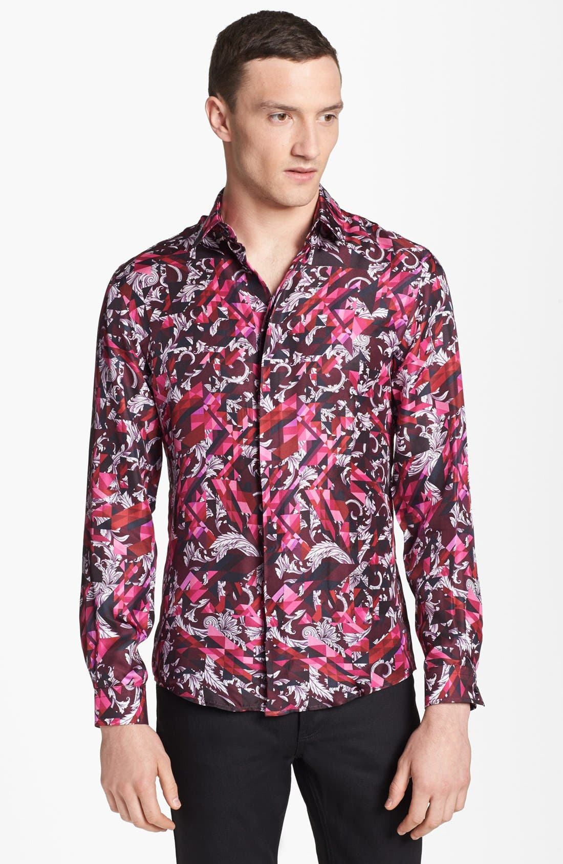 Alternate Image 1 Selected - Versace Allover Geometric Print Woven Silk Shirt