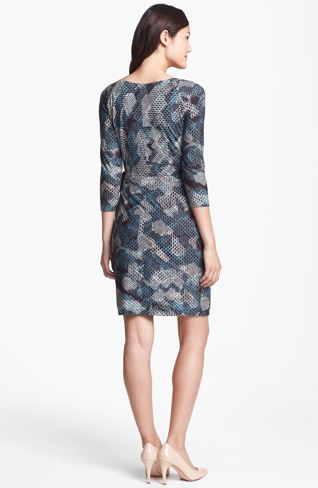 Alternate Image 2  - Ivy & Blu Print Faux Wrap Dress