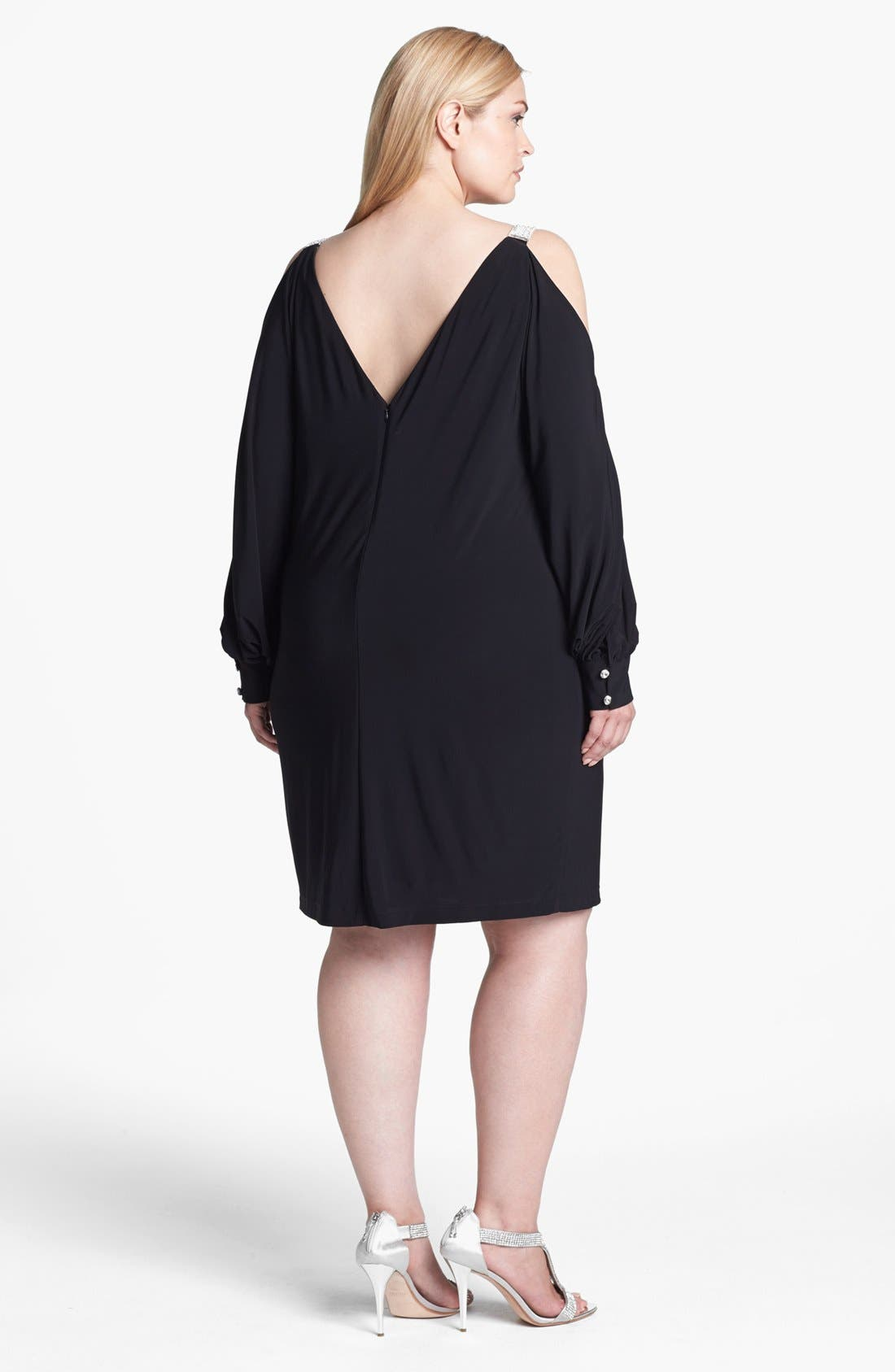 Alternate Image 2  - Xscape Embellished Cold Shoulder Jersey Dress (Plus Size)