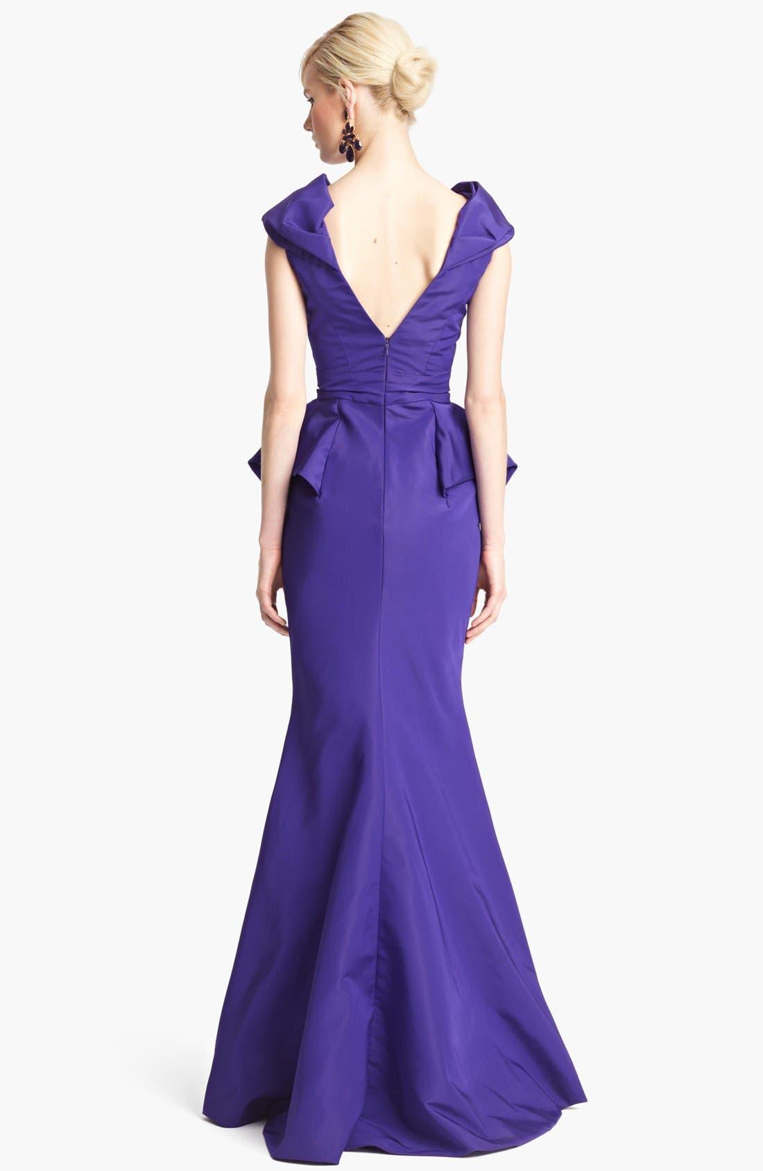 Alternate Image 2  - Oscar de la Renta Off Shoulder Silk Peplum Gown