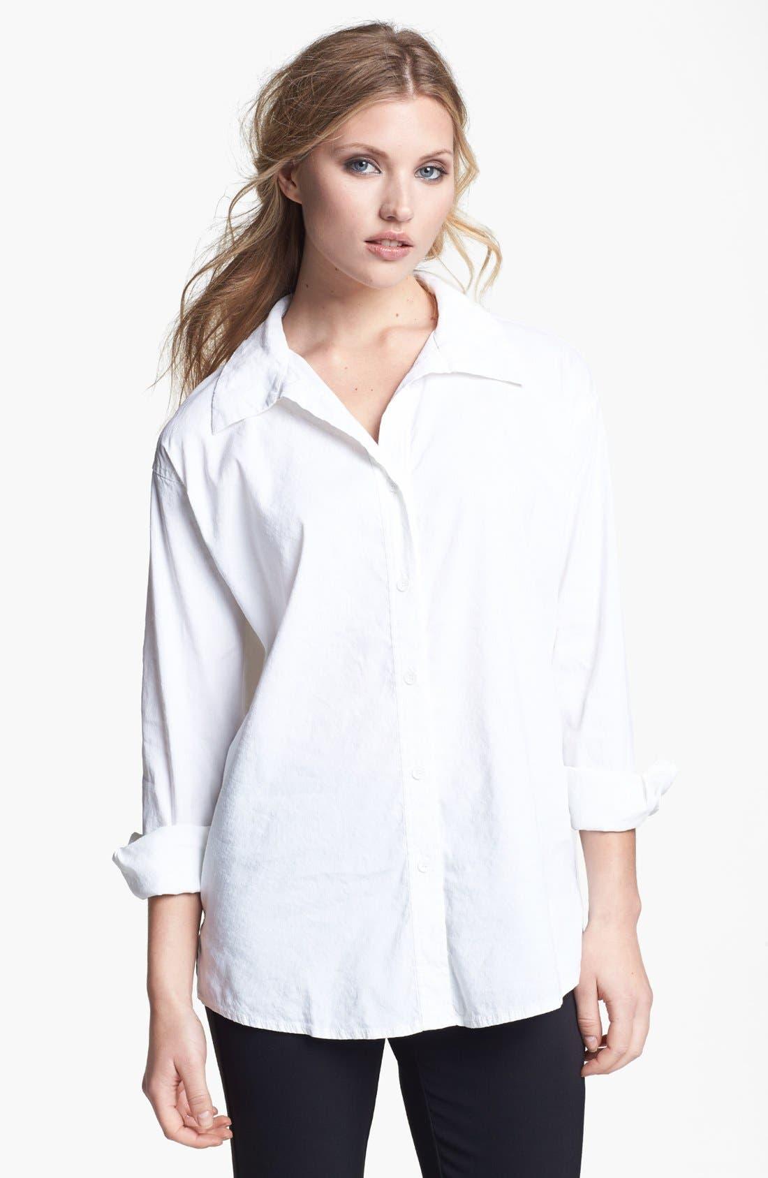 Main Image - Eileen Fisher Stretch Linen Blend Oversized Shirt (Regular & Petite)