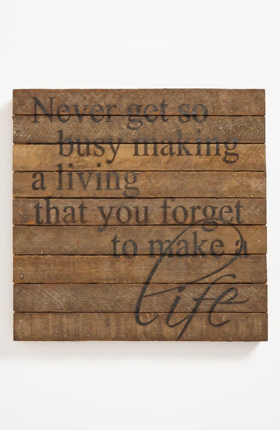 Alternate Image 1 Selected - 'Never Get So Busy' Repurposed Wood Wall Art