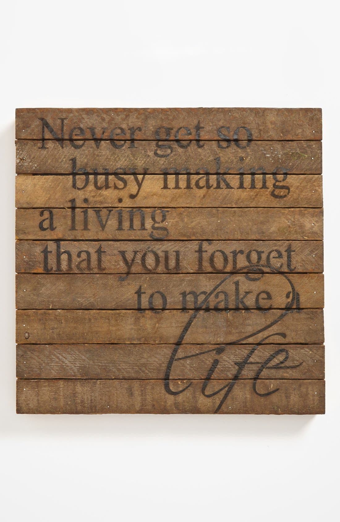 Main Image - 'Never Get So Busy' Repurposed Wood Wall Art