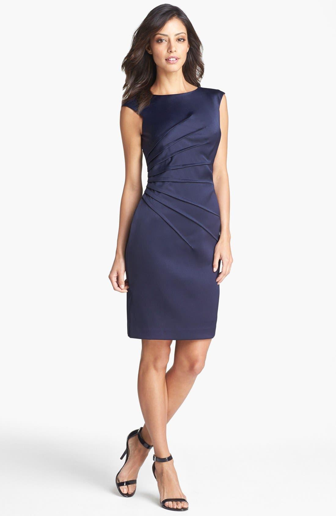 Alternate Image 1 Selected - Eliza J Side Pleat Sheath Dress (Petite)