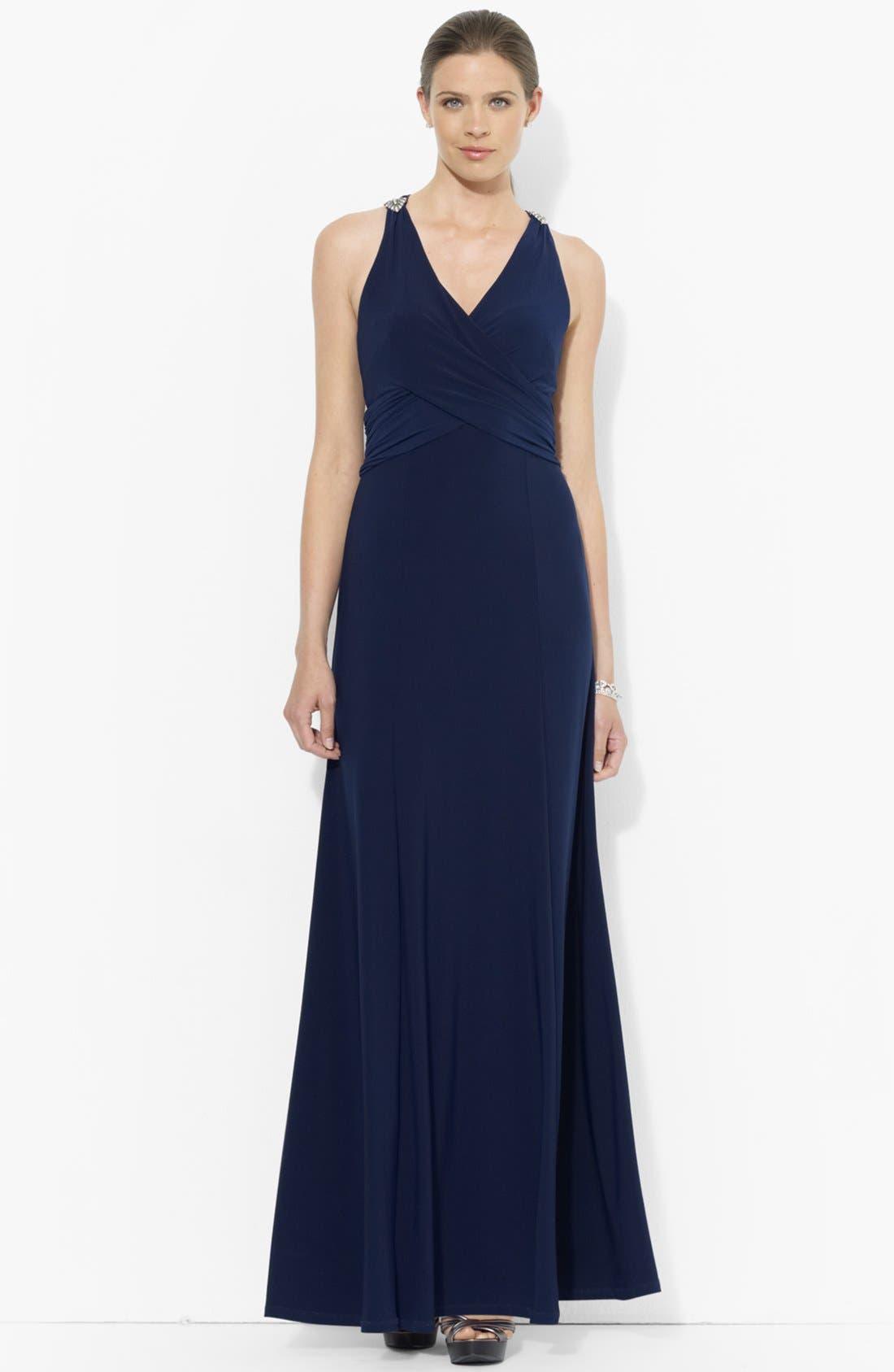 Main Image - Lauren Ralph Lauren Empire Matte Jersey Dress