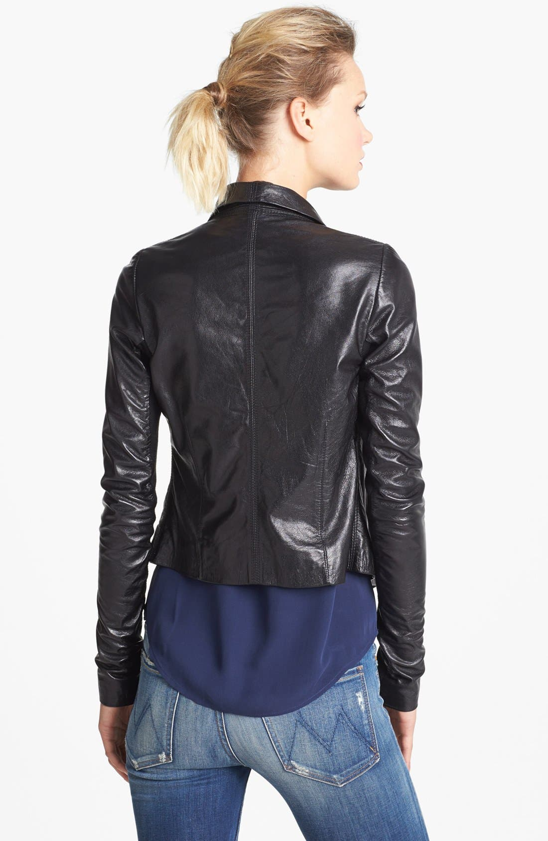 Alternate Image 2  - June Drape Front Leather Jacket