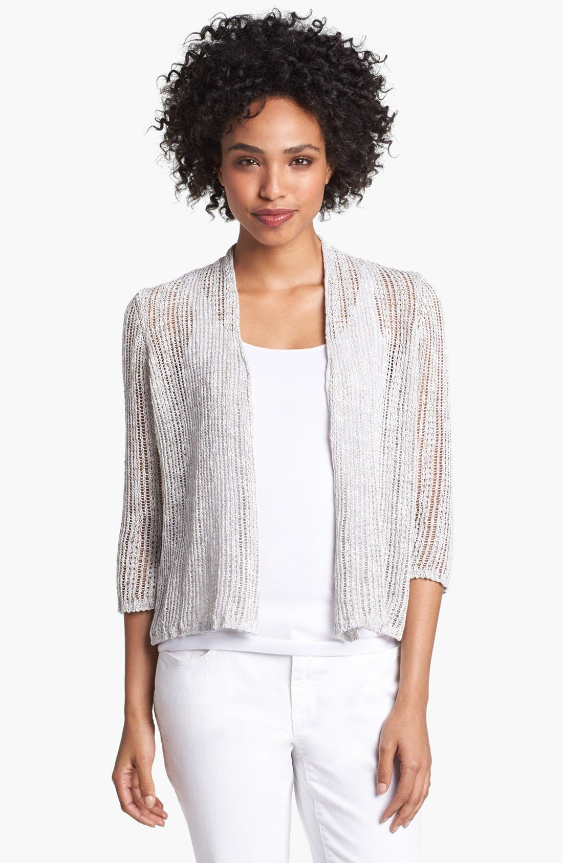 Alternate Image 1 Selected - Eileen Fisher Shimmer Crop Cardigan (Petite)