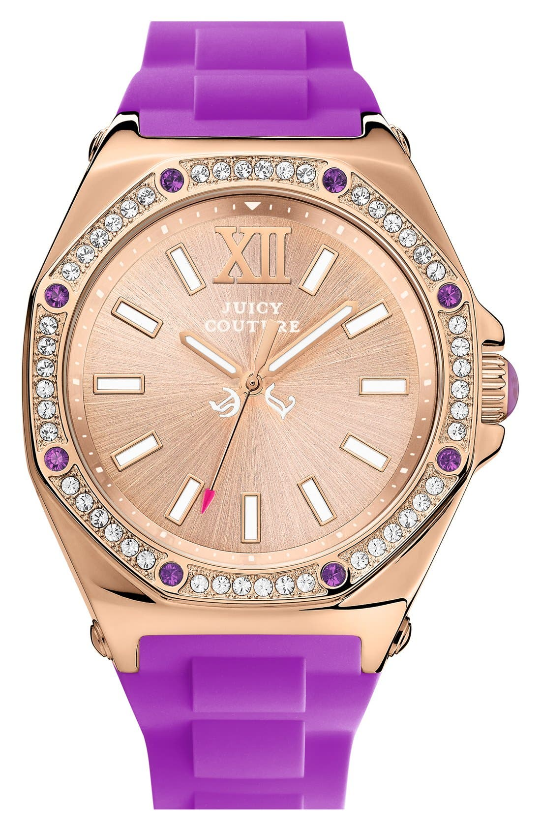 Main Image - Juicy Couture 'Chelsea' Octagonal Jelly Strap Watch, 42mm