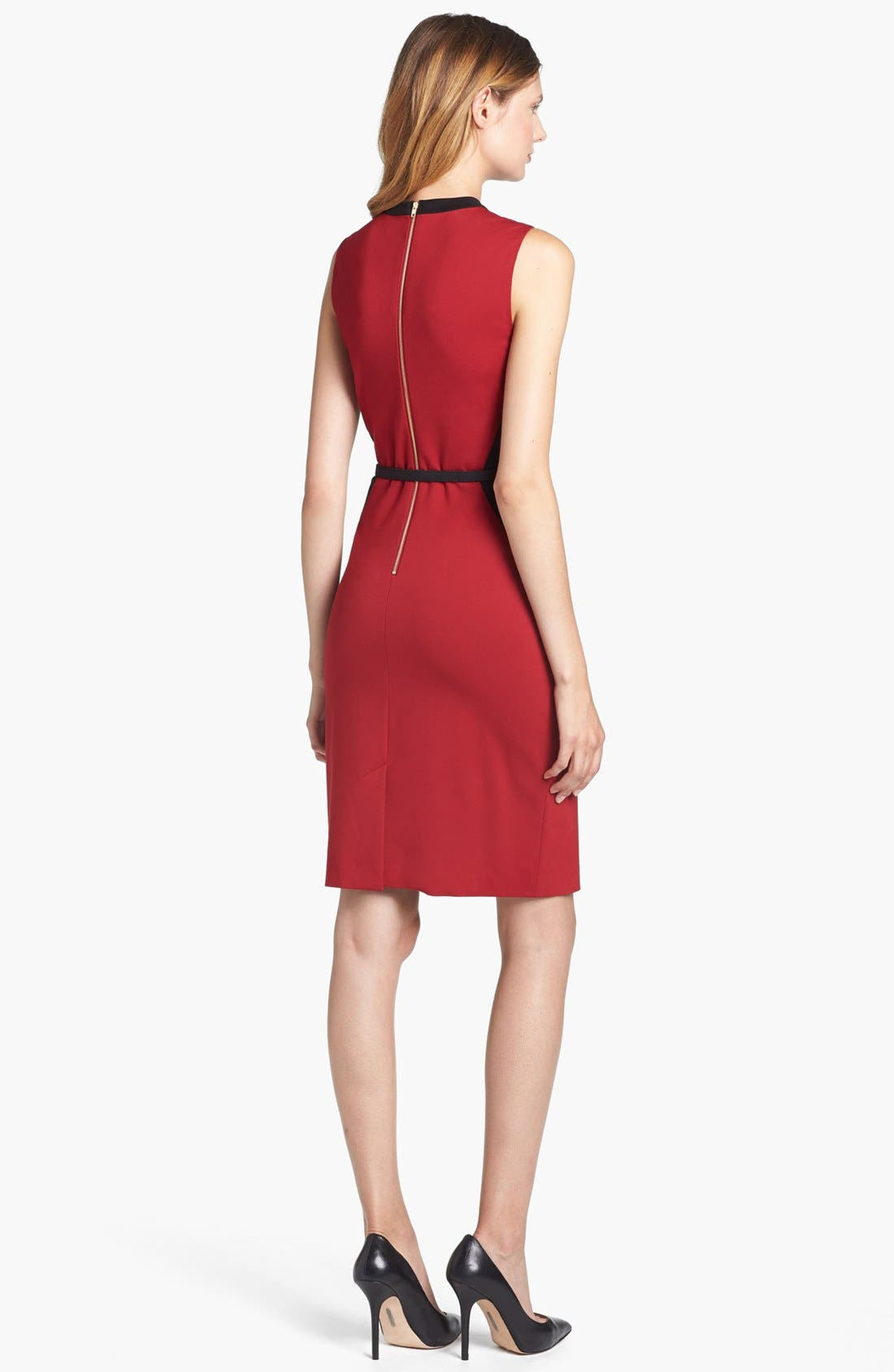 Alternate Image 2  - Adrianna Papell Belted Colorblock Ponte Dress