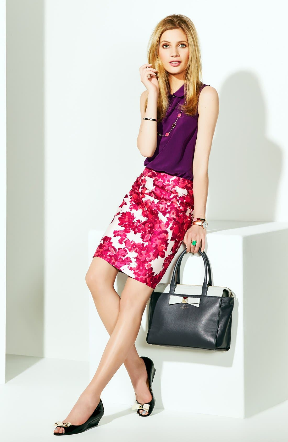 Alternate Image 4  - kate spade new york 'jordan' cotton & silk skirt