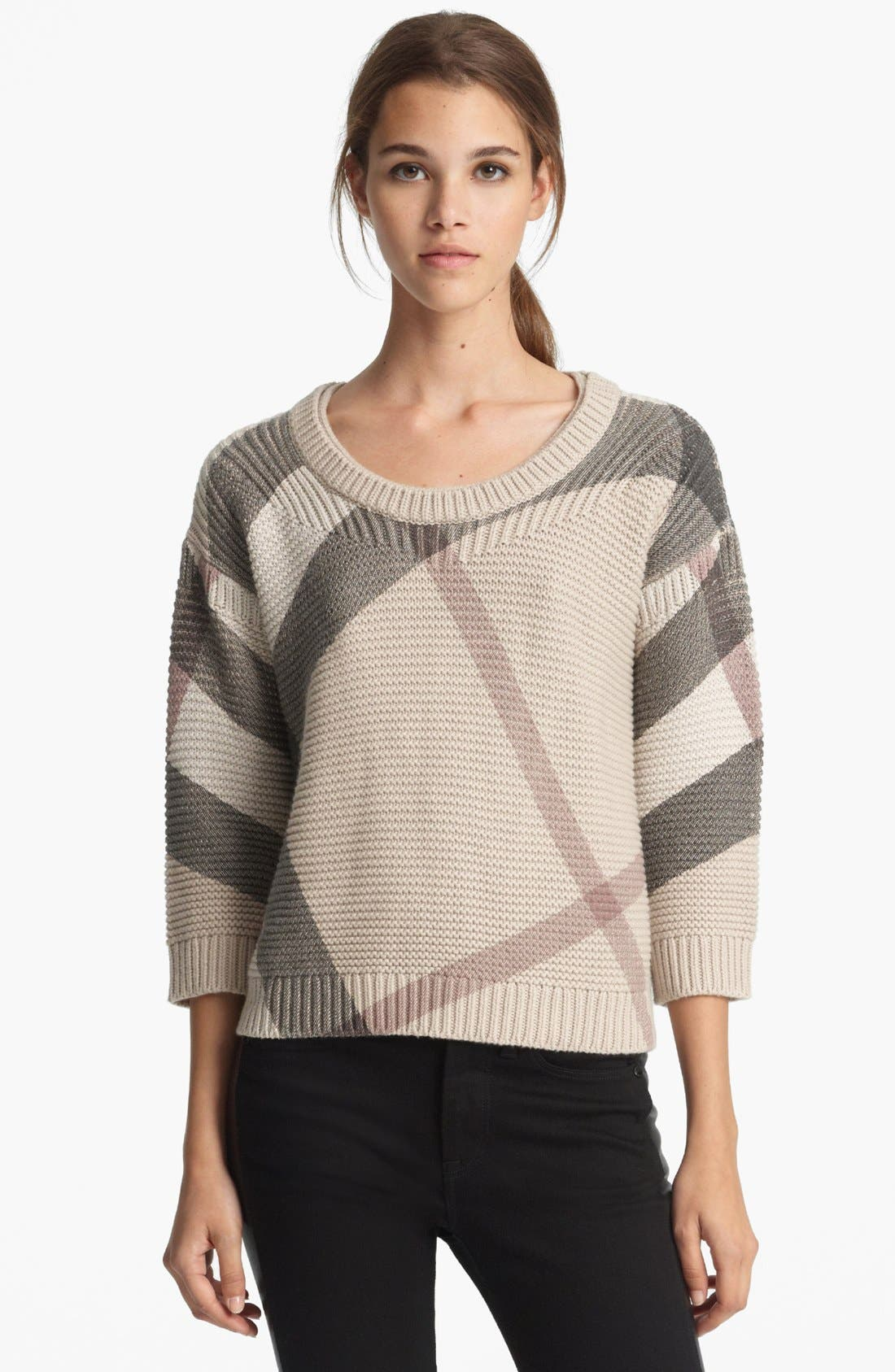 Alternate Image 1 Selected - Burberry Brit Check Pattern Sweater