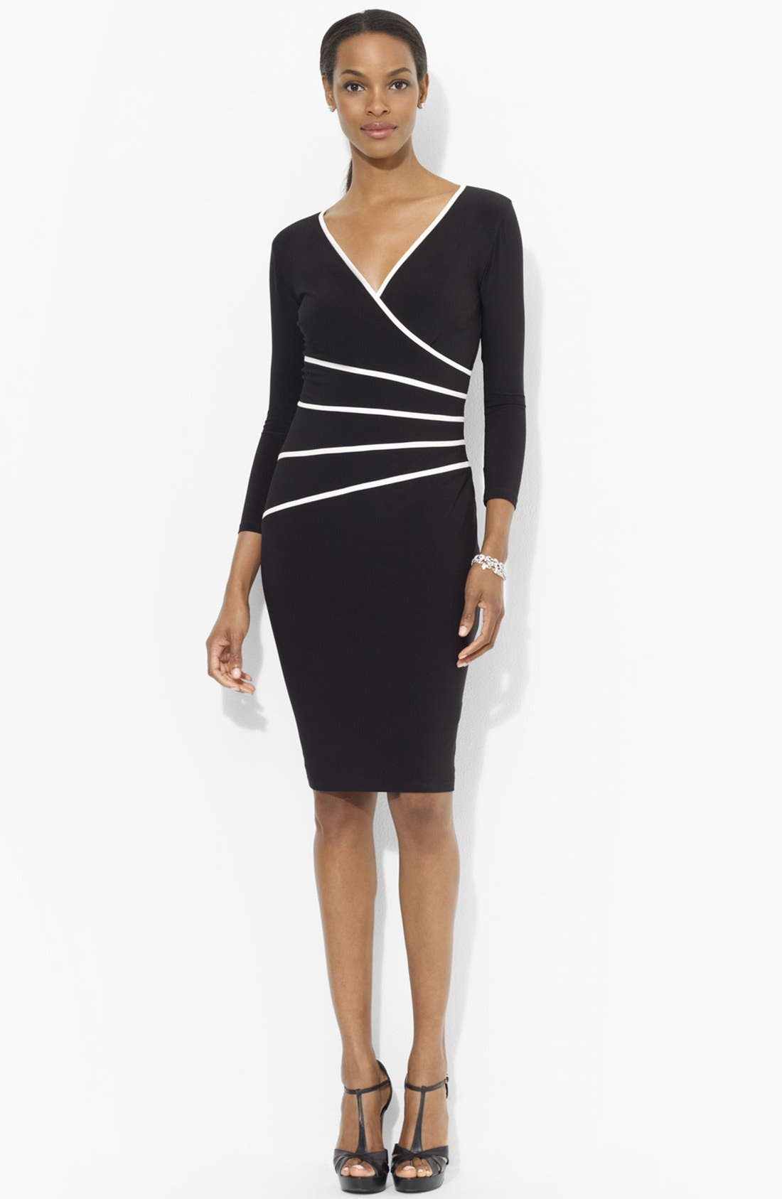 Alternate Image 1 Selected - Lauren Ralph Lauren Contrast Trim Jersey Sheath