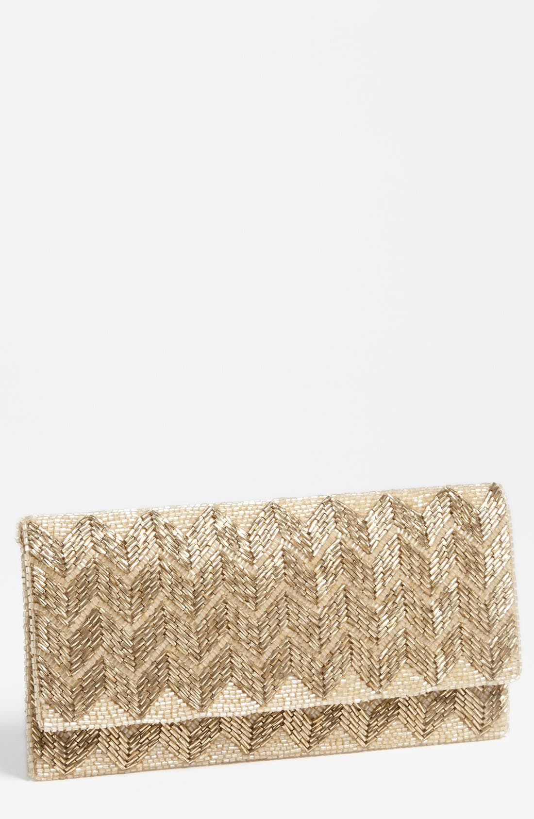 Main Image - Glint 'Zigzag' Beaded Foldover Clutch