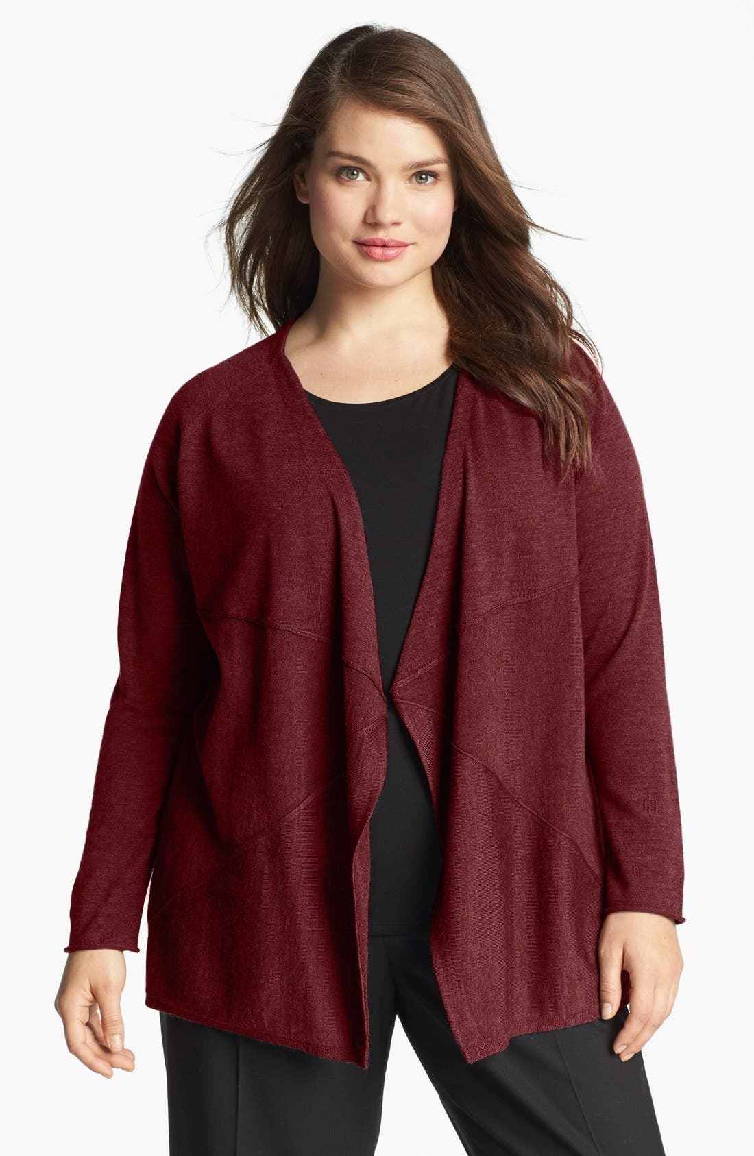 Alternate Image 1 Selected - Eileen Fisher Merino Wool Open Cardigan (Plus Size)