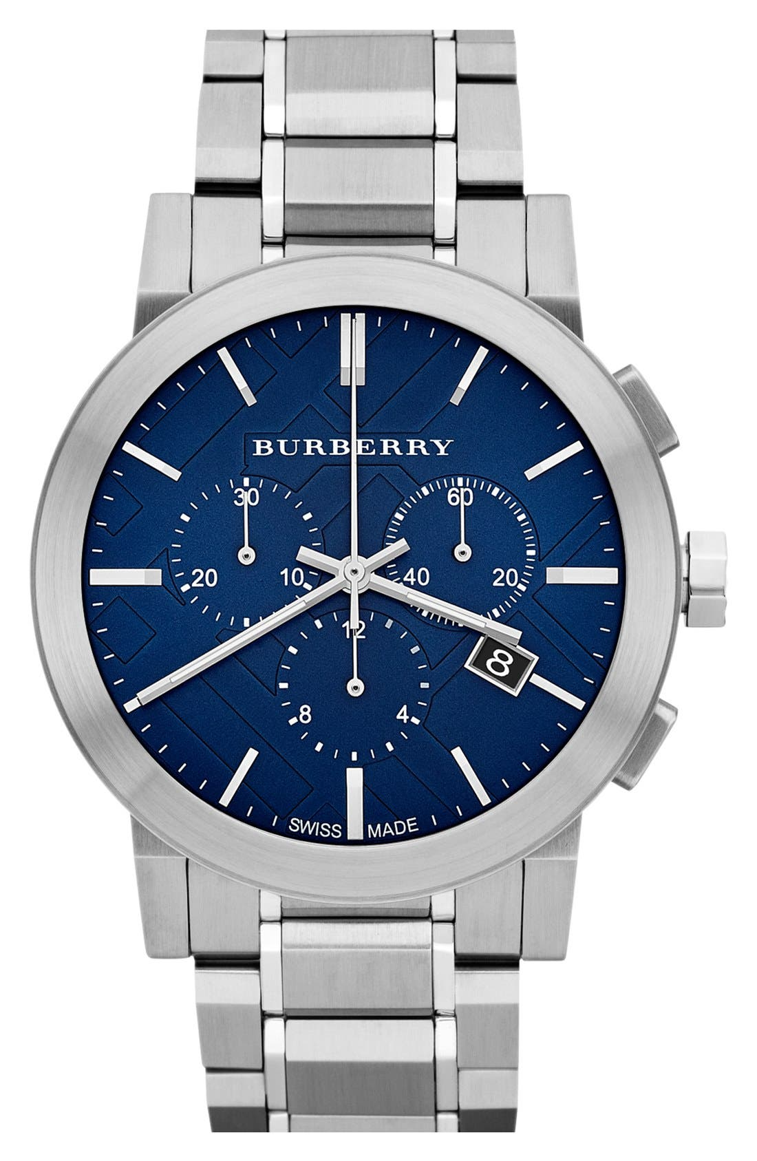 Alternate Image 1 Selected - Burberry Check Stamped Chronograph Bracelet Watch, 42mm