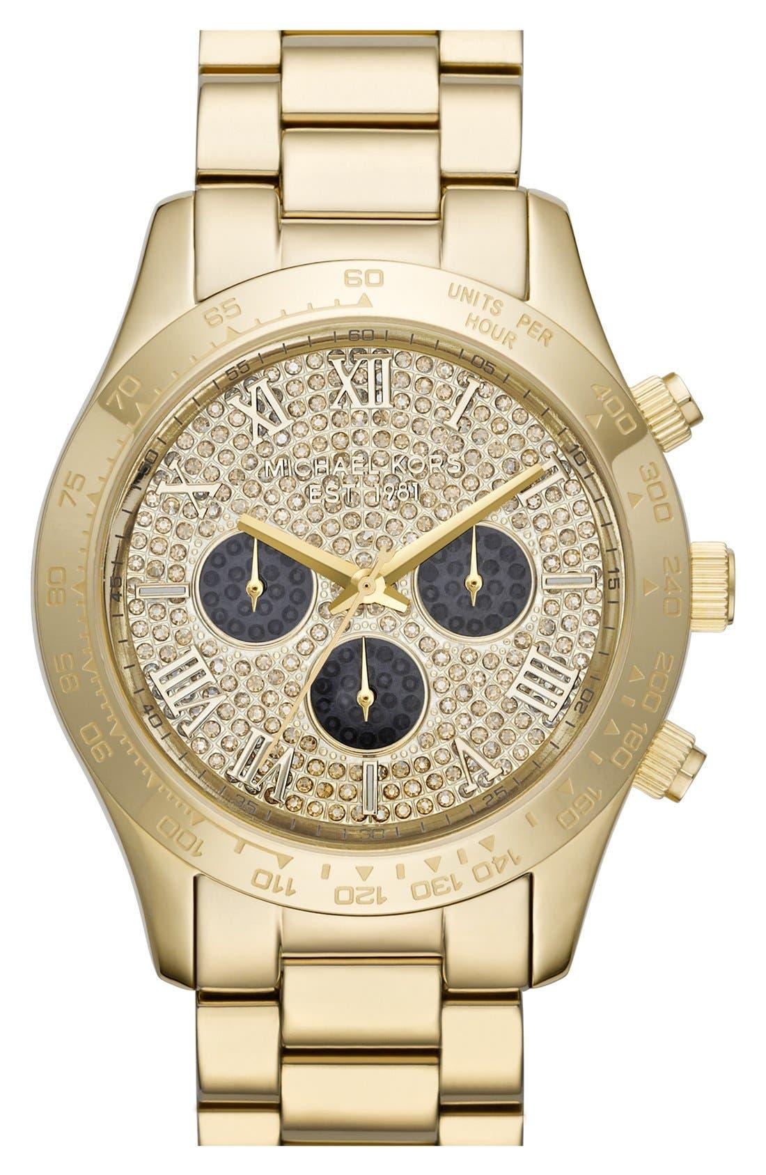 Main Image - Michael Kors 'Layton' Pavé Dial Bracelet Watch, 44mm