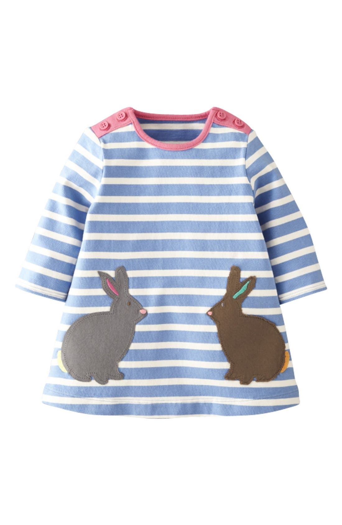 Alternate Image 1 Selected - Mini Boden Stripe Jersey Dress (Baby Girls)