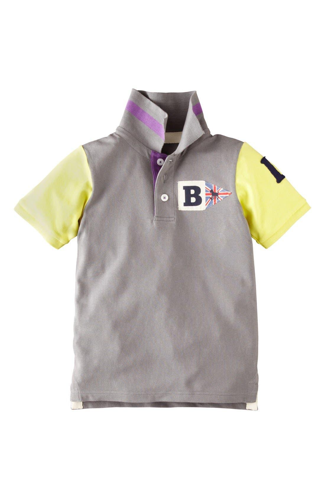 Alternate Image 1 Selected - Mini Boden Colorblock Polo Shirt (Toddler Boys, Little Boys & Big Boys)