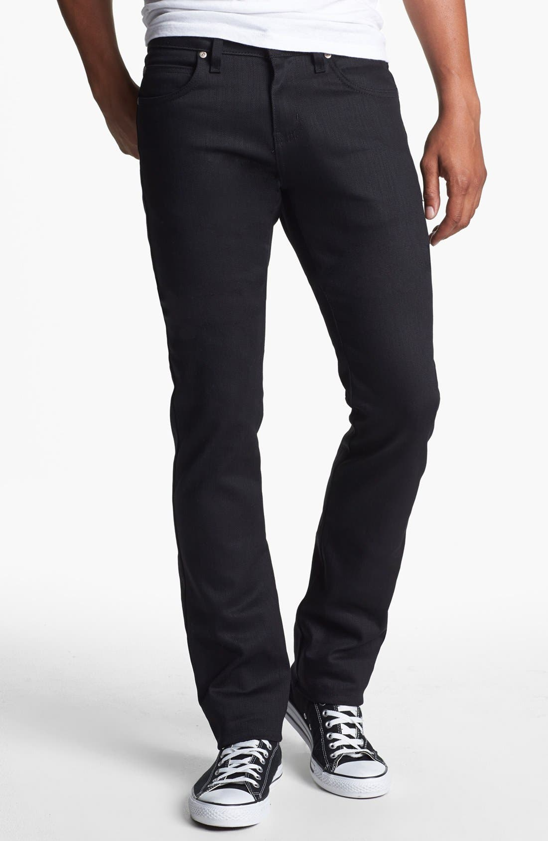 Alternate Image 1 Selected - Naked & Famous Denim Skinny Guy Skinny Fit Jeans (Black Power Stretch)
