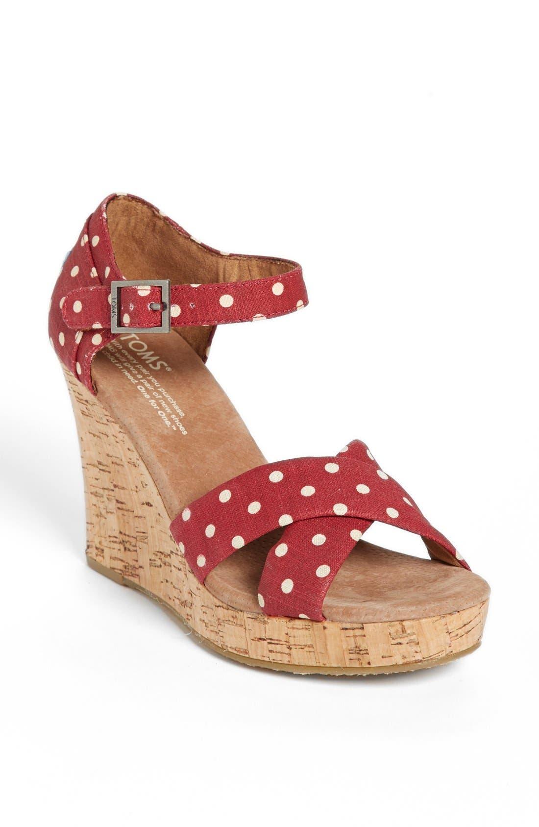 Main Image - TOMS Polka Dot Linen Woven Wedge Sandal