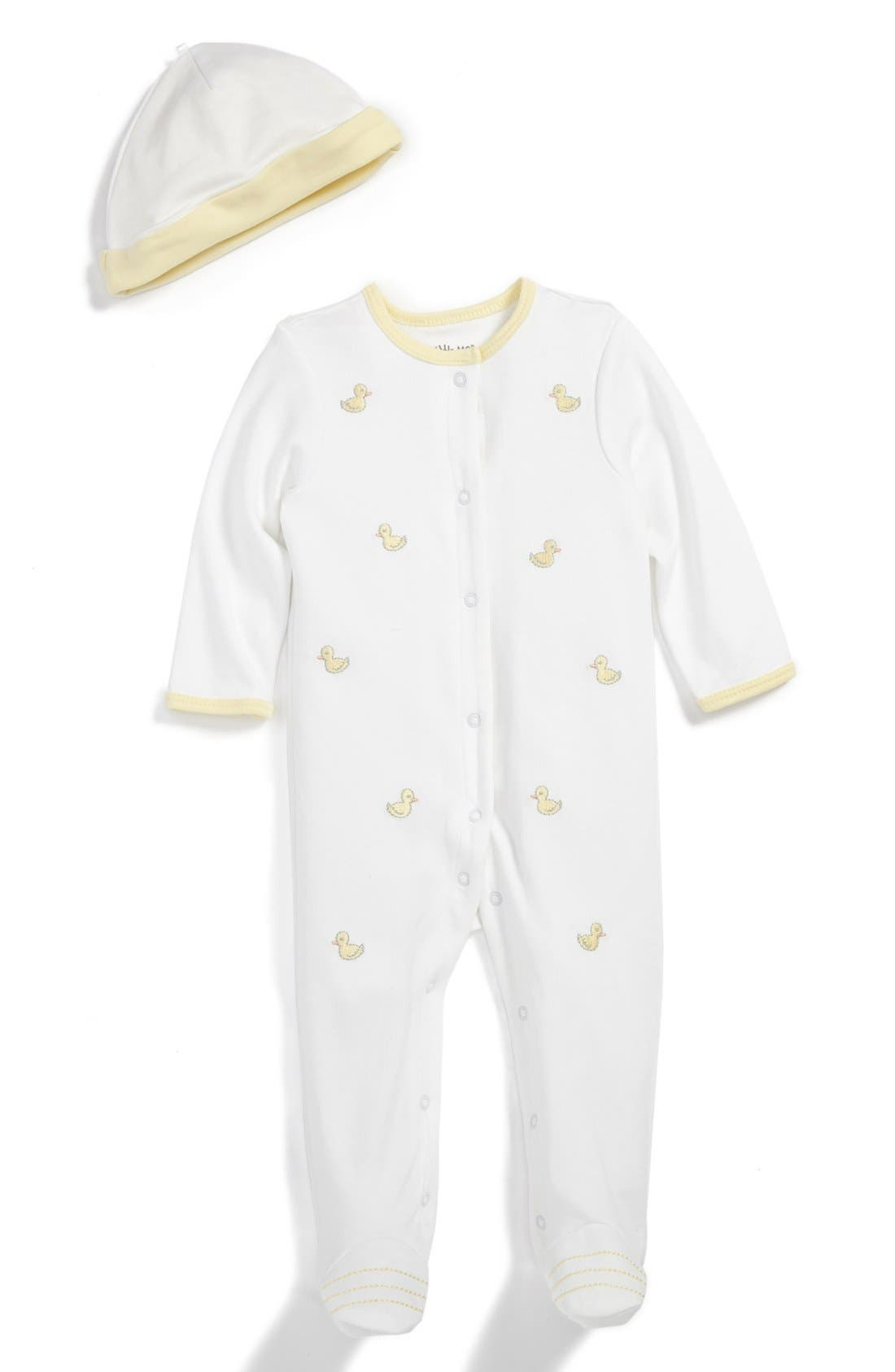 Main Image - Little Me 'Little Ducks' Embroidered Footie & Hat (Baby)