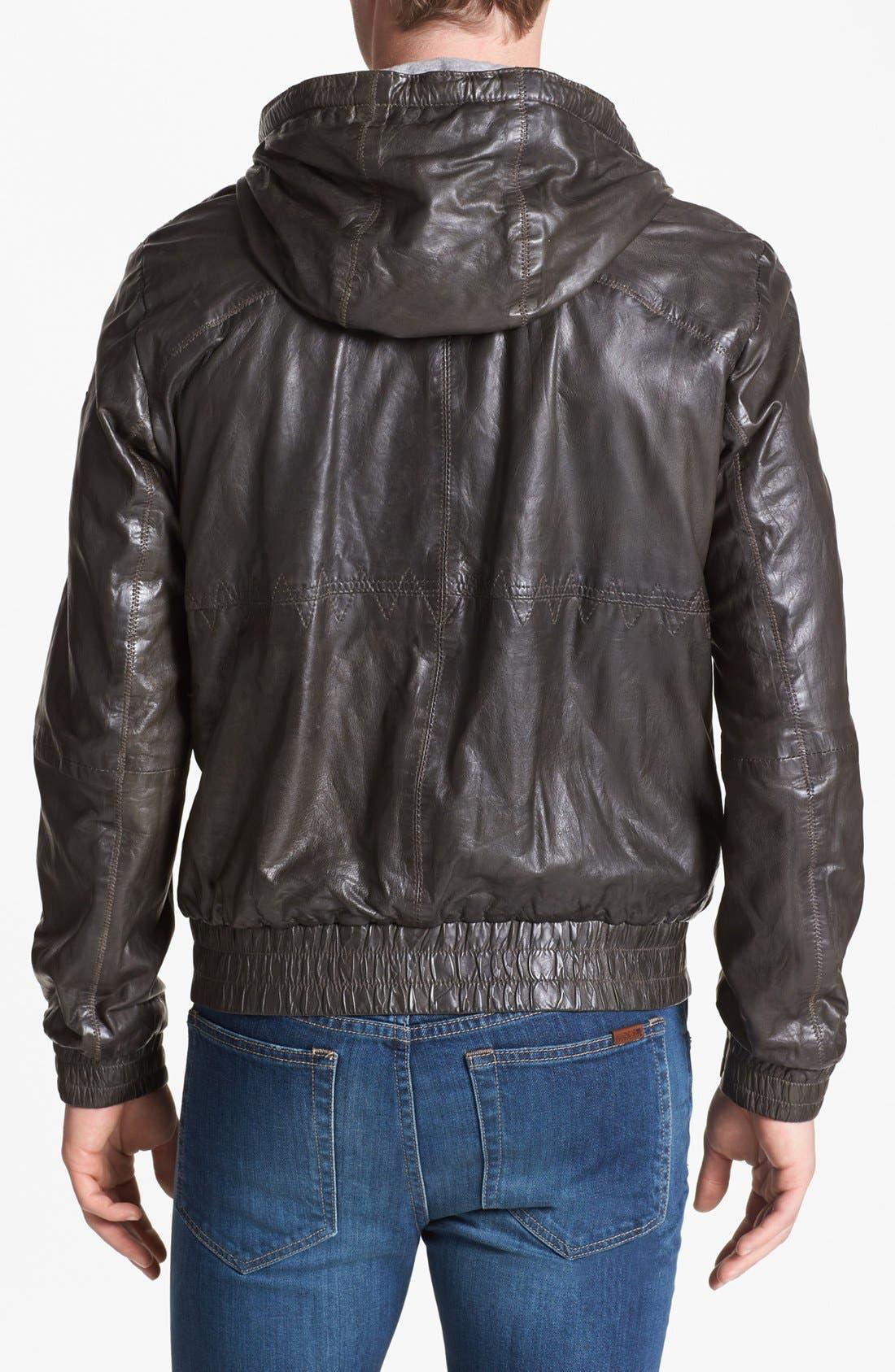 Alternate Image 2  - BOSS Orange 'Jonger' Hooded Leather Jacket