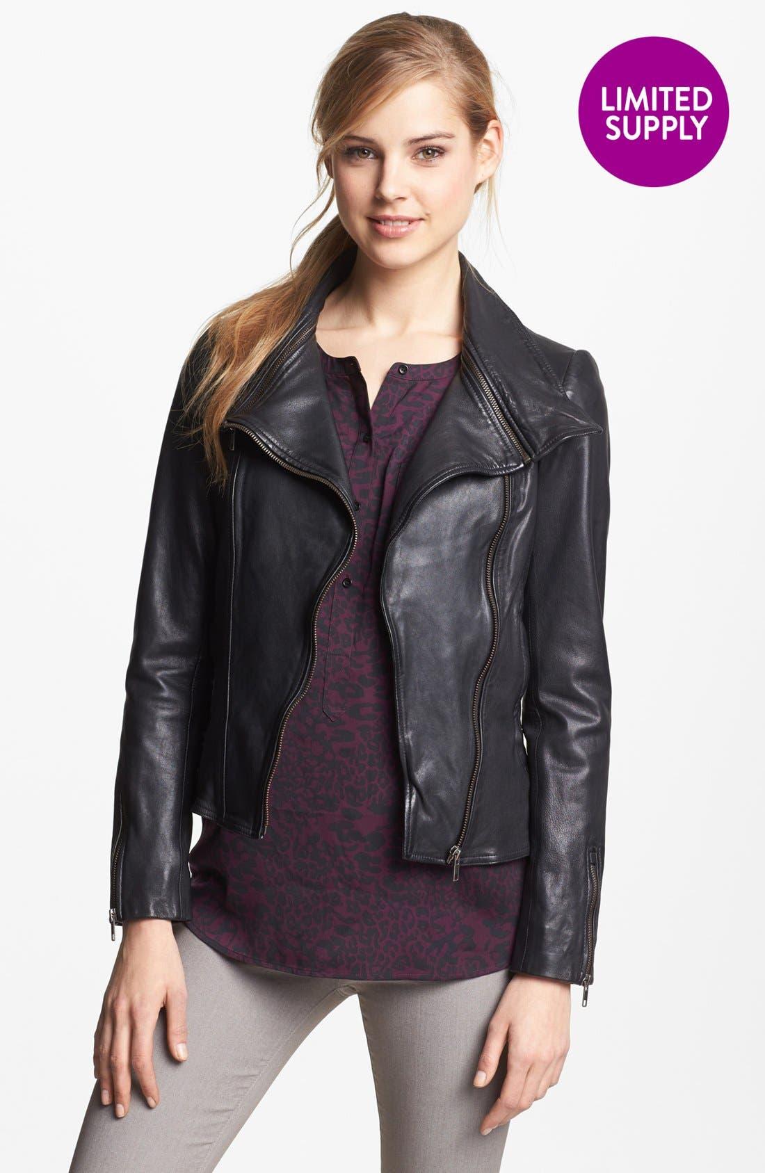 Alternate Image 1 Selected - Soia & Kyo Zip Collar Leather Jacket
