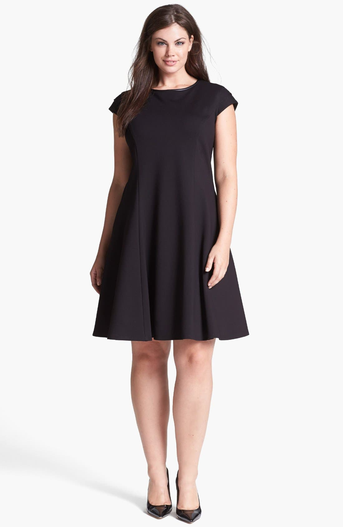 Main Image - ABS by Allen Schwartz Ponte Knit Fit & Flare Dress (Plus Size)