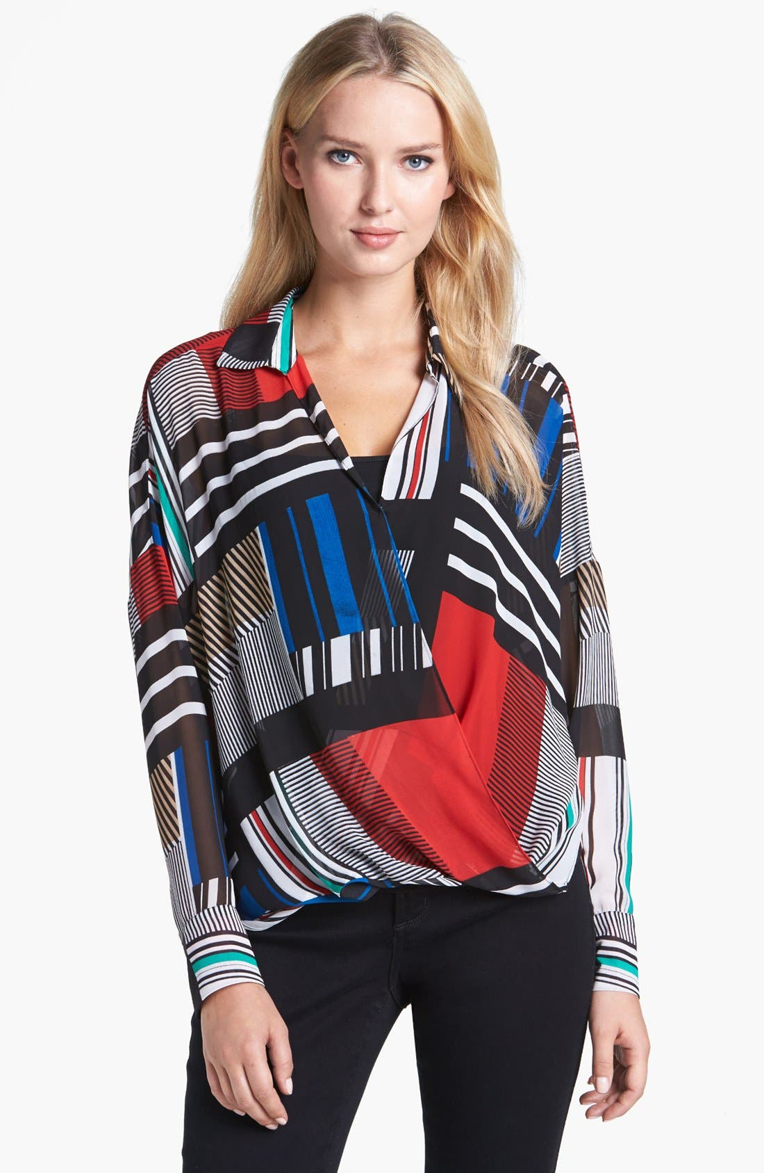 Alternate Image 1 Selected - Chaus Patchwork Print Faux Wrap Blouse