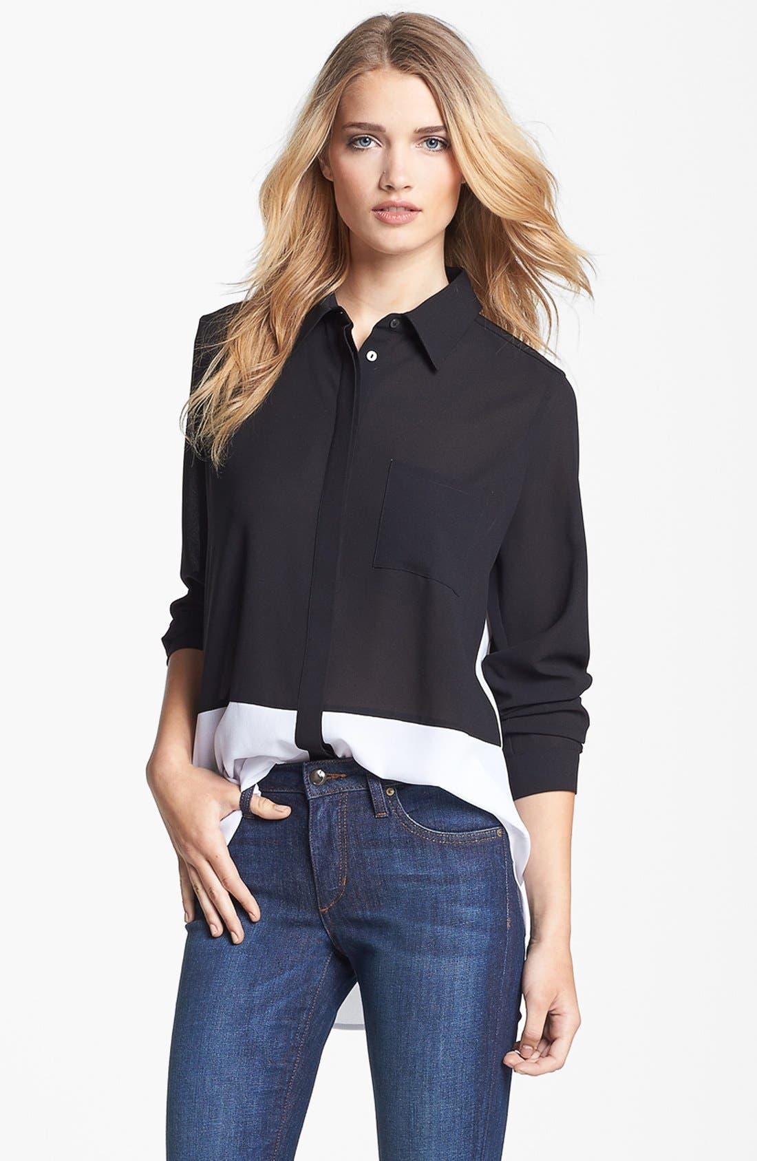 Main Image - Fever Colorblock High/Low Blouse