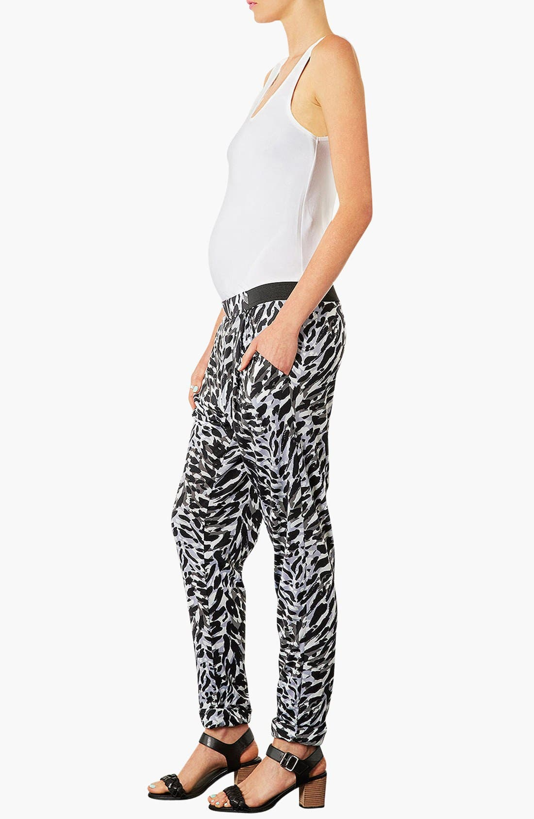 Alternate Image 4  - Topshop 'Contrast Cat' Tapered Maternity Trousers