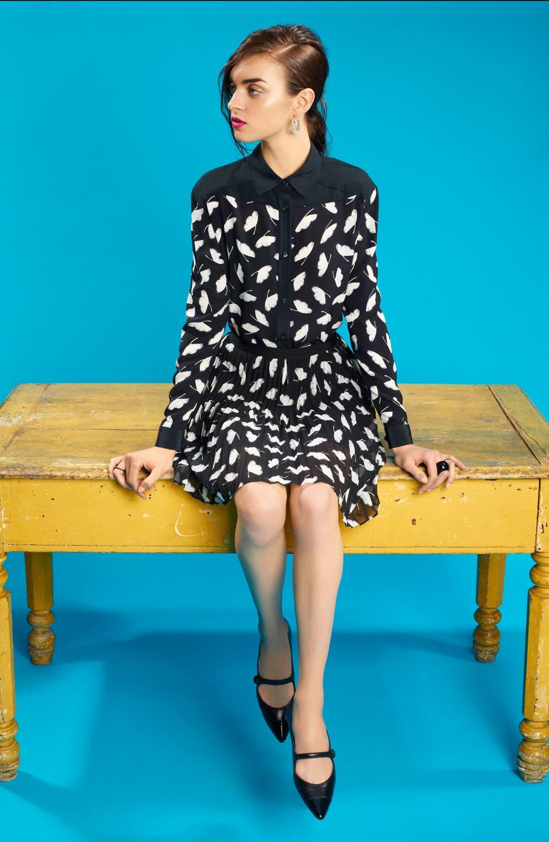 Alternate Image 6  - Miss Wu 'Delicate Leaf' Print Chiffon Skirt (Nordstrom Exclusive)
