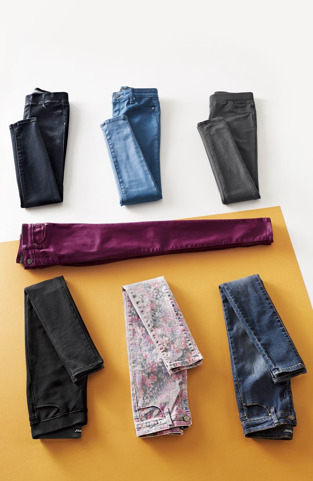 Alternate Image 3  - Tractor Floral Print Denim Pants (Big Girls)