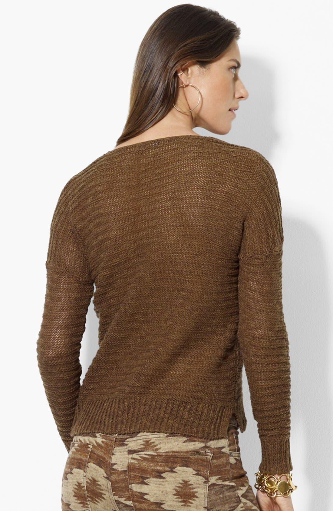 Alternate Image 2  - Lauren Ralph Lauren Lace-Up Rib Knit Sweater