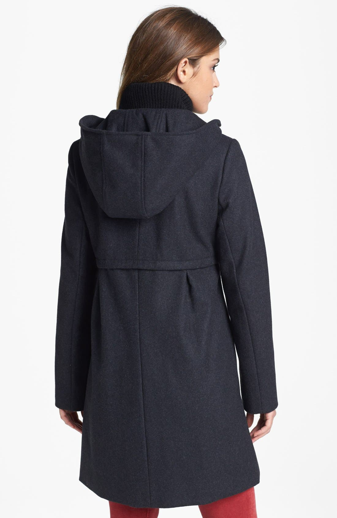 Alternate Image 2  - DKNY Knit Collar Babydoll Coat with Detachable Hood (Online Only)