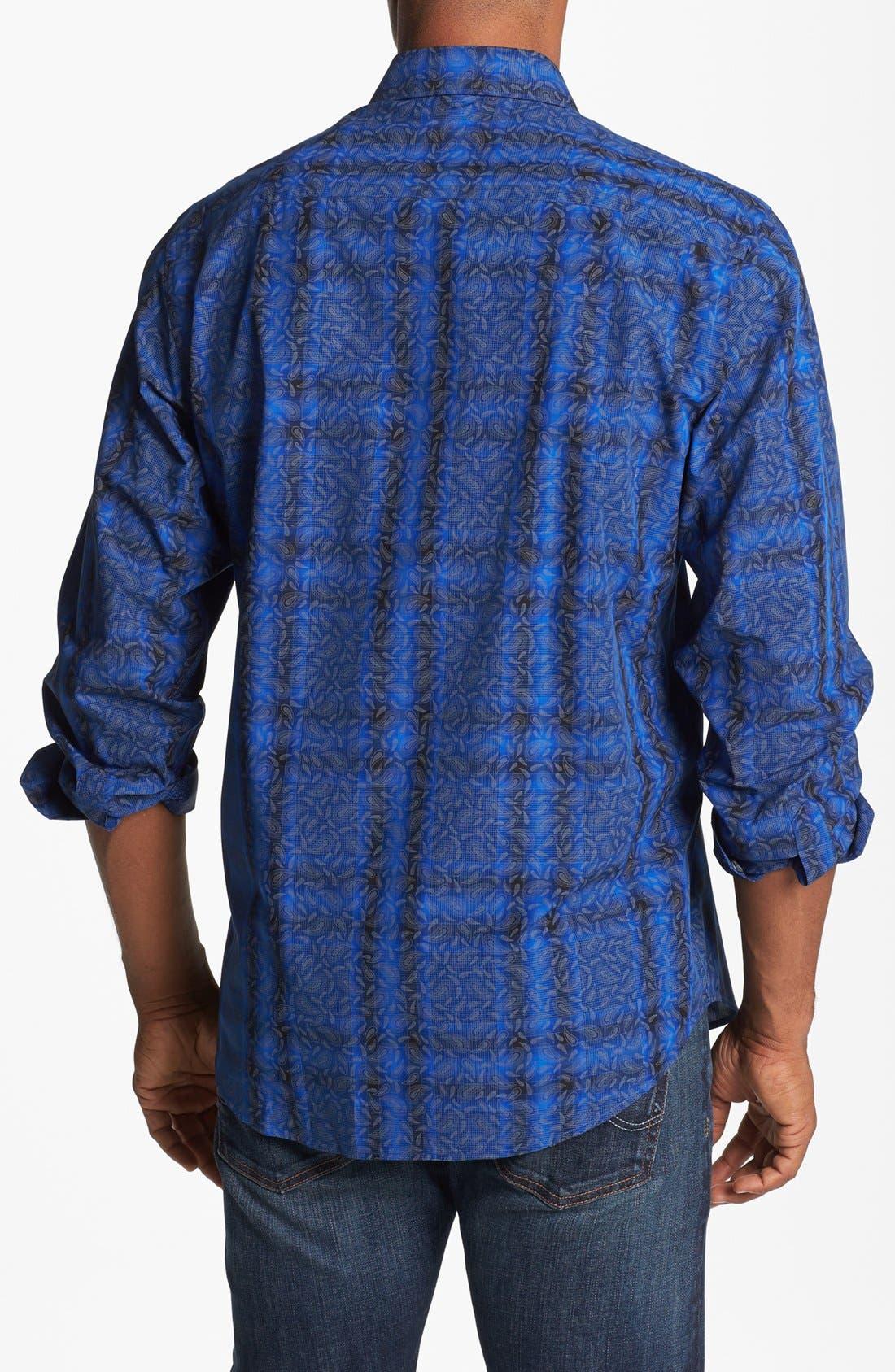 Alternate Image 3  - Bugatchi Paisley Check Classic Fit Cotton Sport Shirt (Tall)