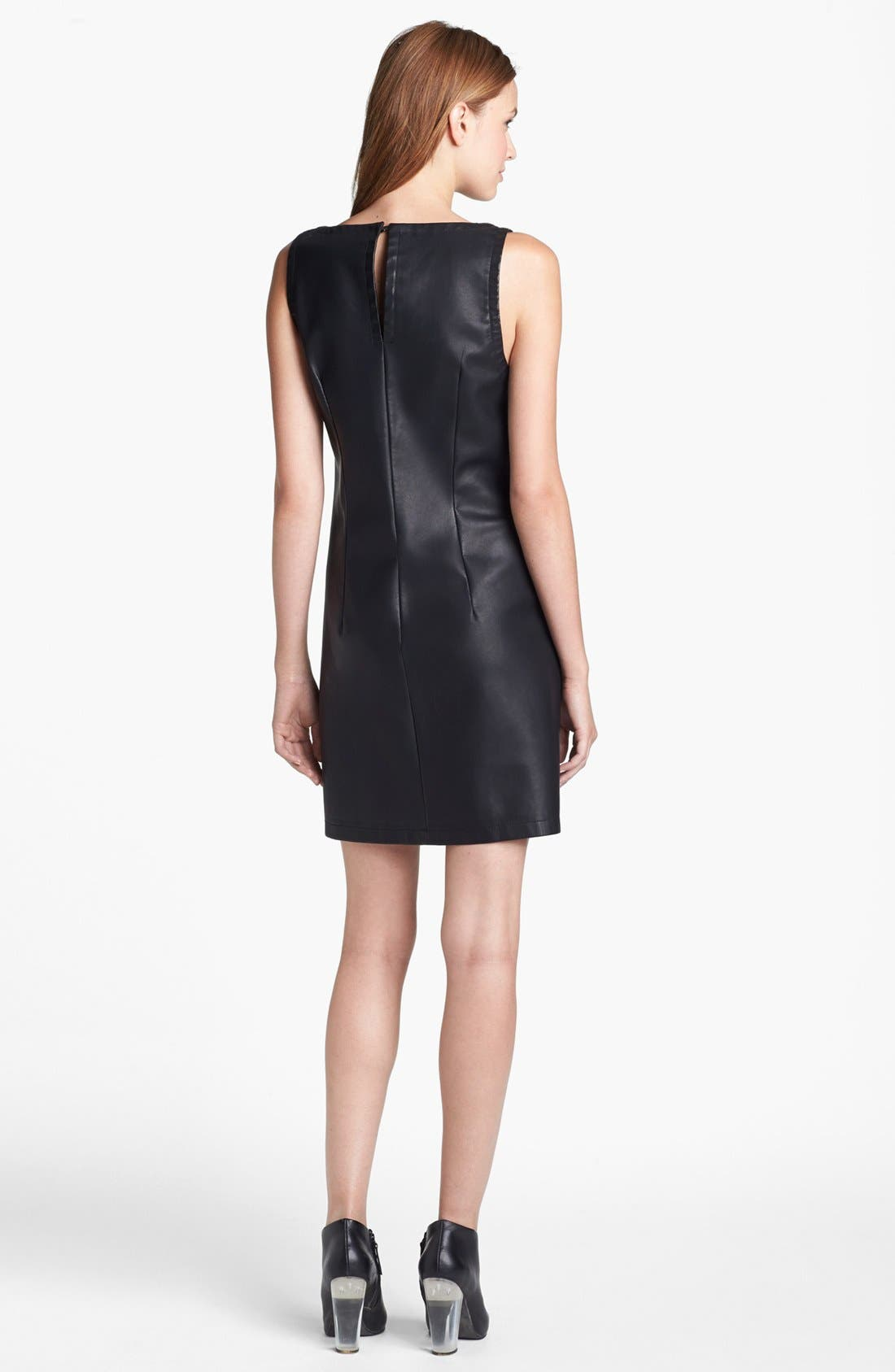 Alternate Image 2  - BB Dakota Faux Leather Shift Dress
