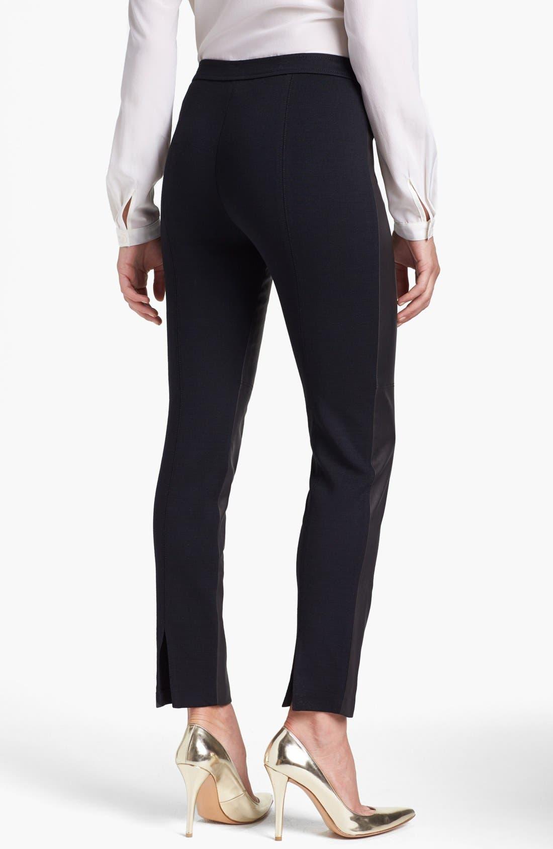 Alternate Image 2  - St. John Collection 'Alexa' Stretch Leather & Milano Knit Pants
