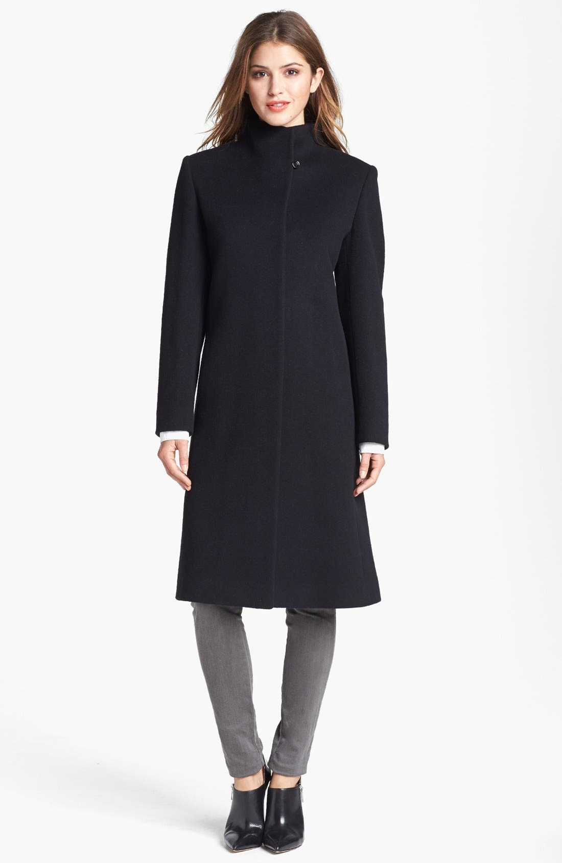 Alternate Image 4  - Cinzia Rocca Due Funnel Neck Wool Blend Coat