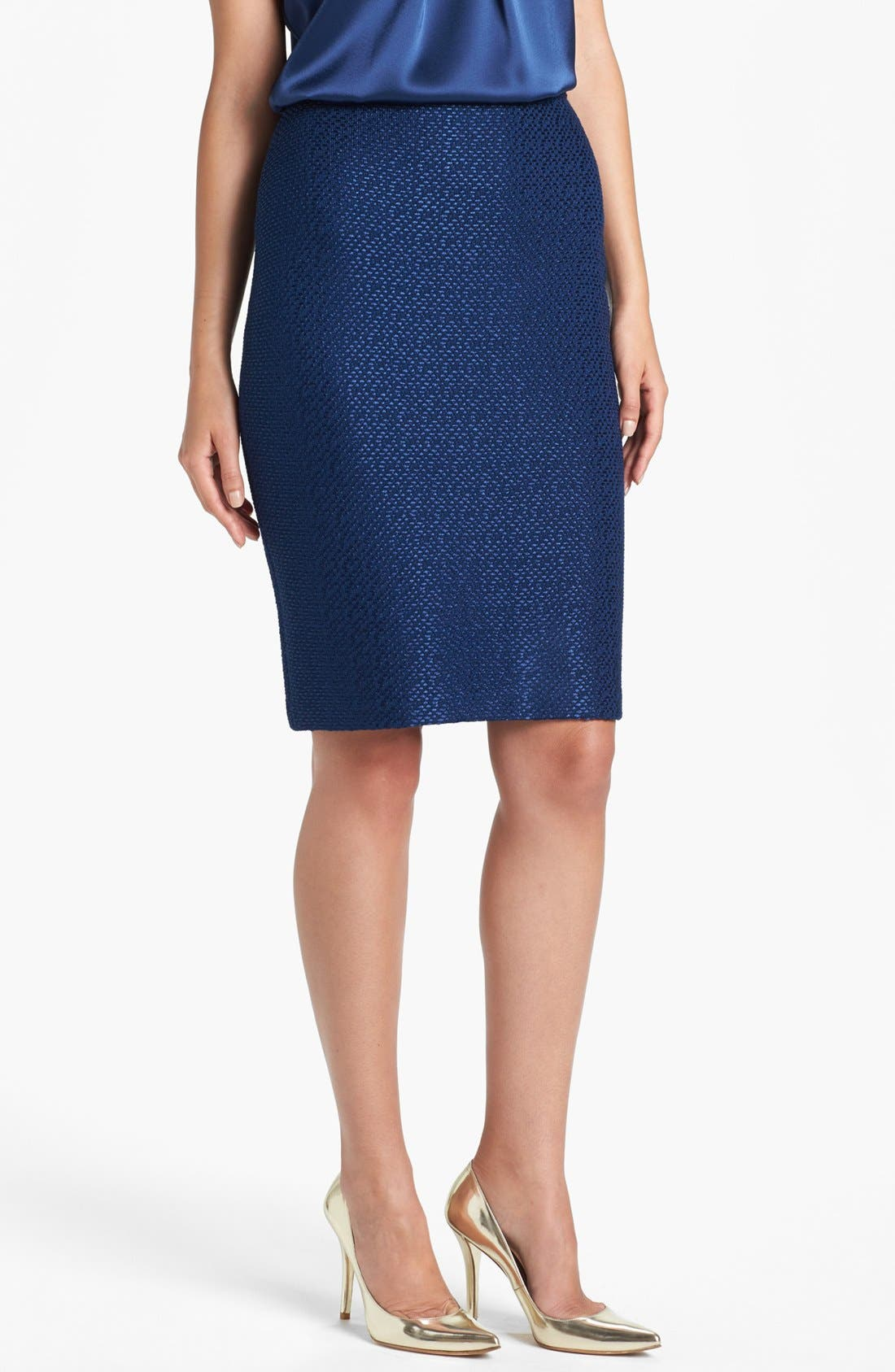Main Image - St. John Collection Tonal Dot Knit Pencil Skirt