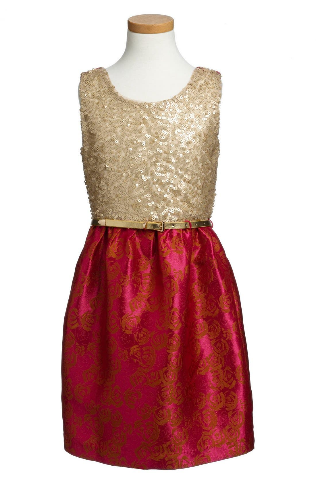 Main Image - BLUSH by Us Angels Sequin & Brocade Dress (Big Girls)