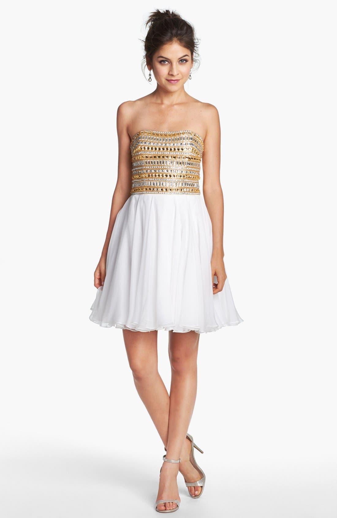 Alternate Image 1 Selected - Sherri Hill Embellished Chiffon Fit & Flare Dress