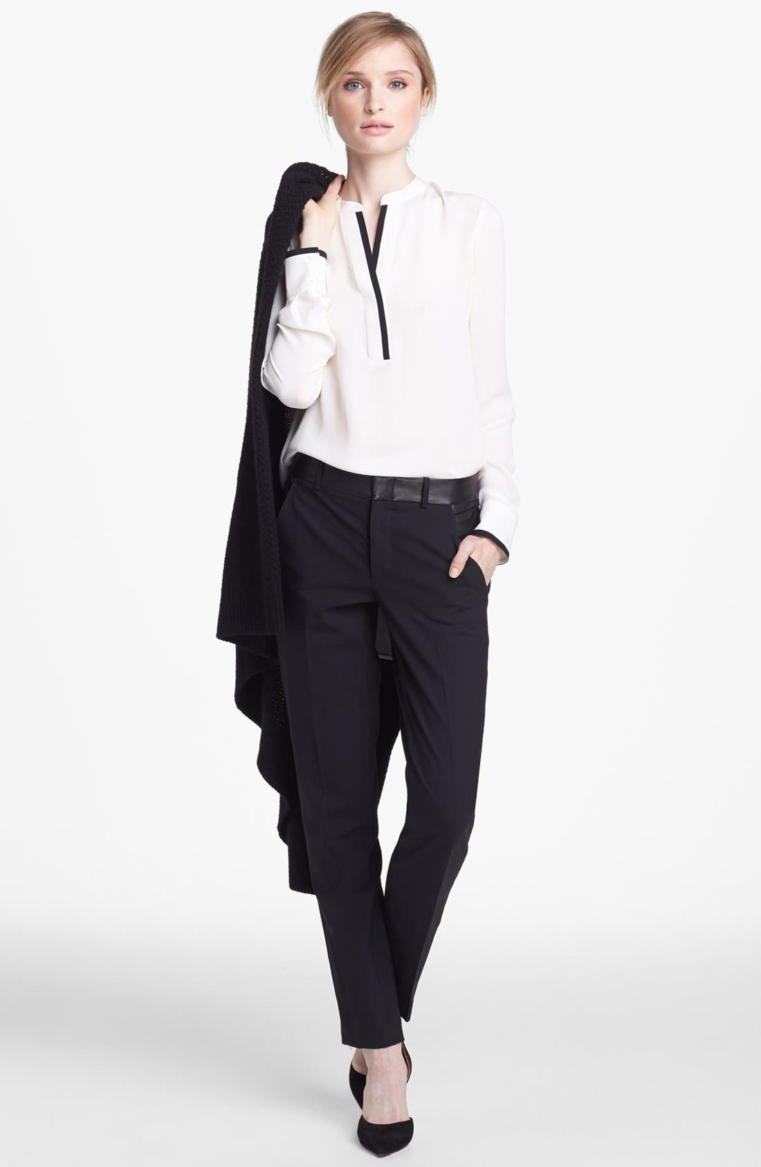 Alternate Image 4  - Vince Long Sleeve Contrast Placket Silk Blouse