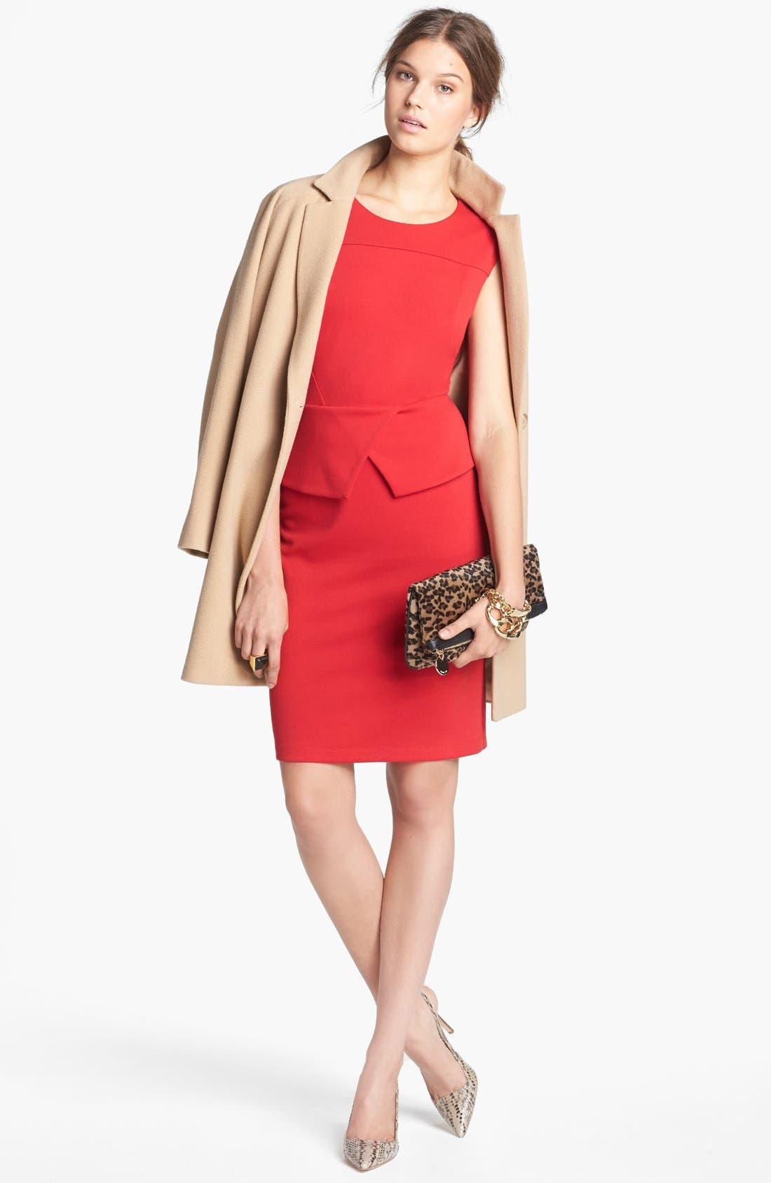 Alternate Image 4  - Calvin Klein Cap Sleeve Peplum Sheath Dress (Online Only)