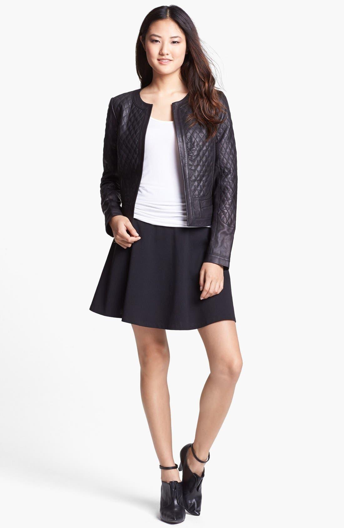 Alternate Image 2  - Halogen® Quilted Leather Jacket (Regular & Petite)