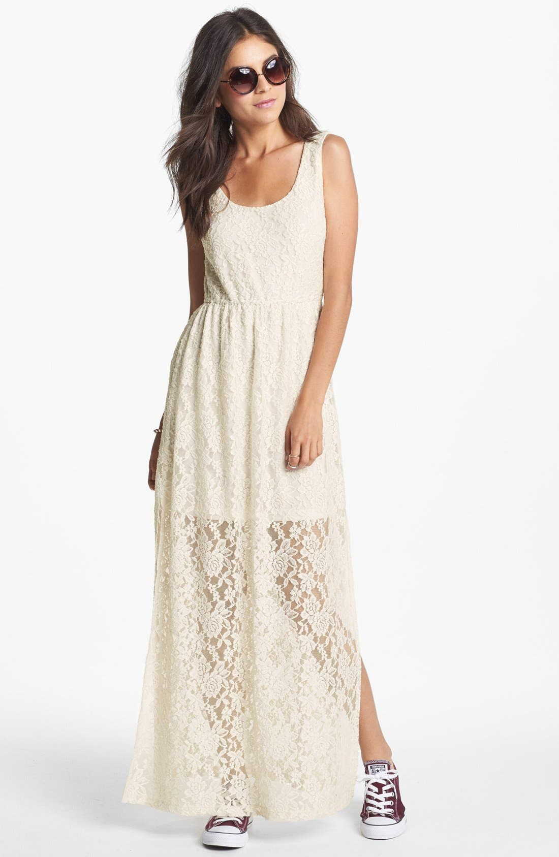 Main Image - Mimi Chica Lace Maxi Dress (Juniors)