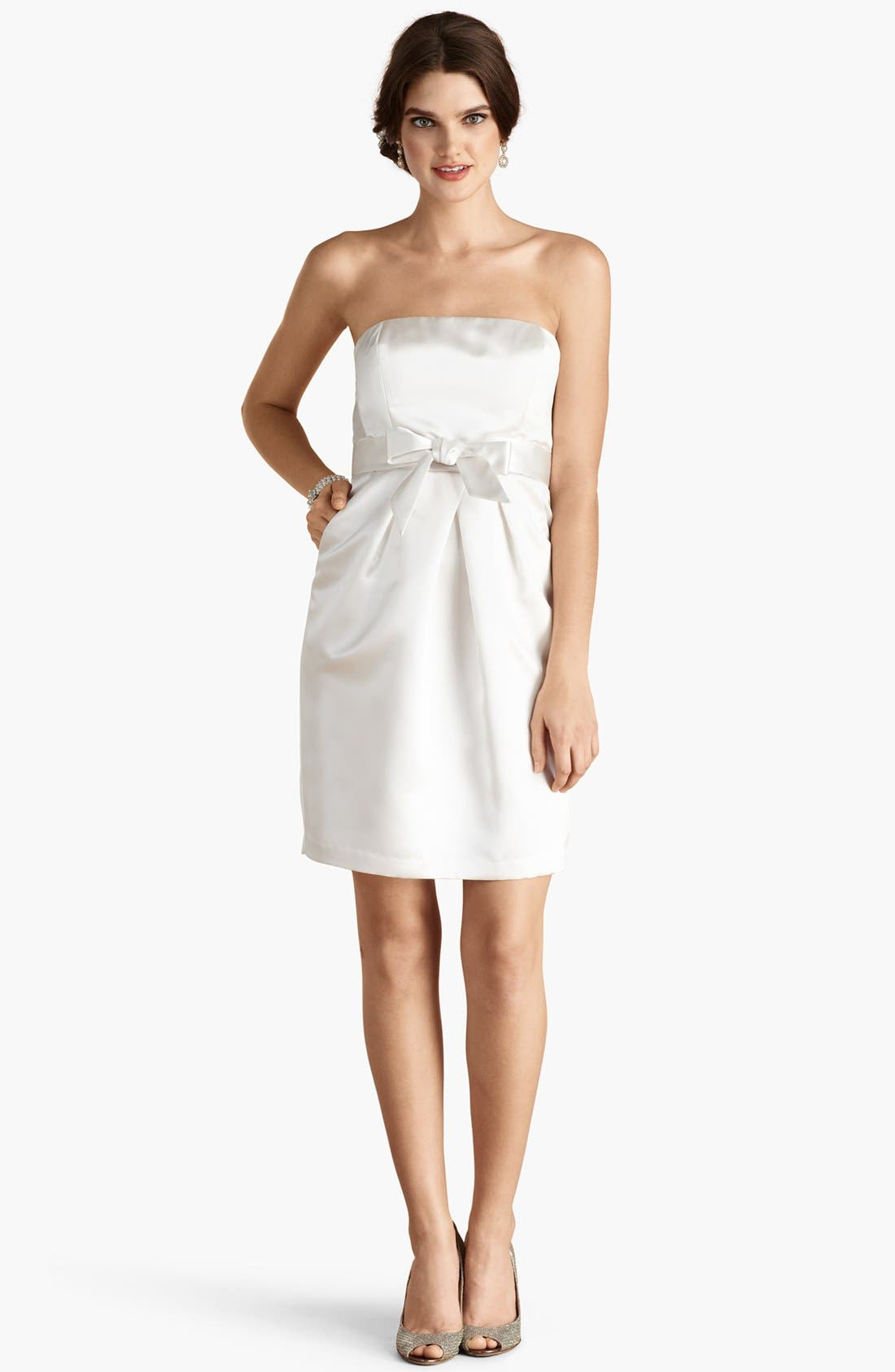 Alternate Image 2  - Donna Morgan 'Savannah' Strapless Satin Sheath Dress (Online Only)