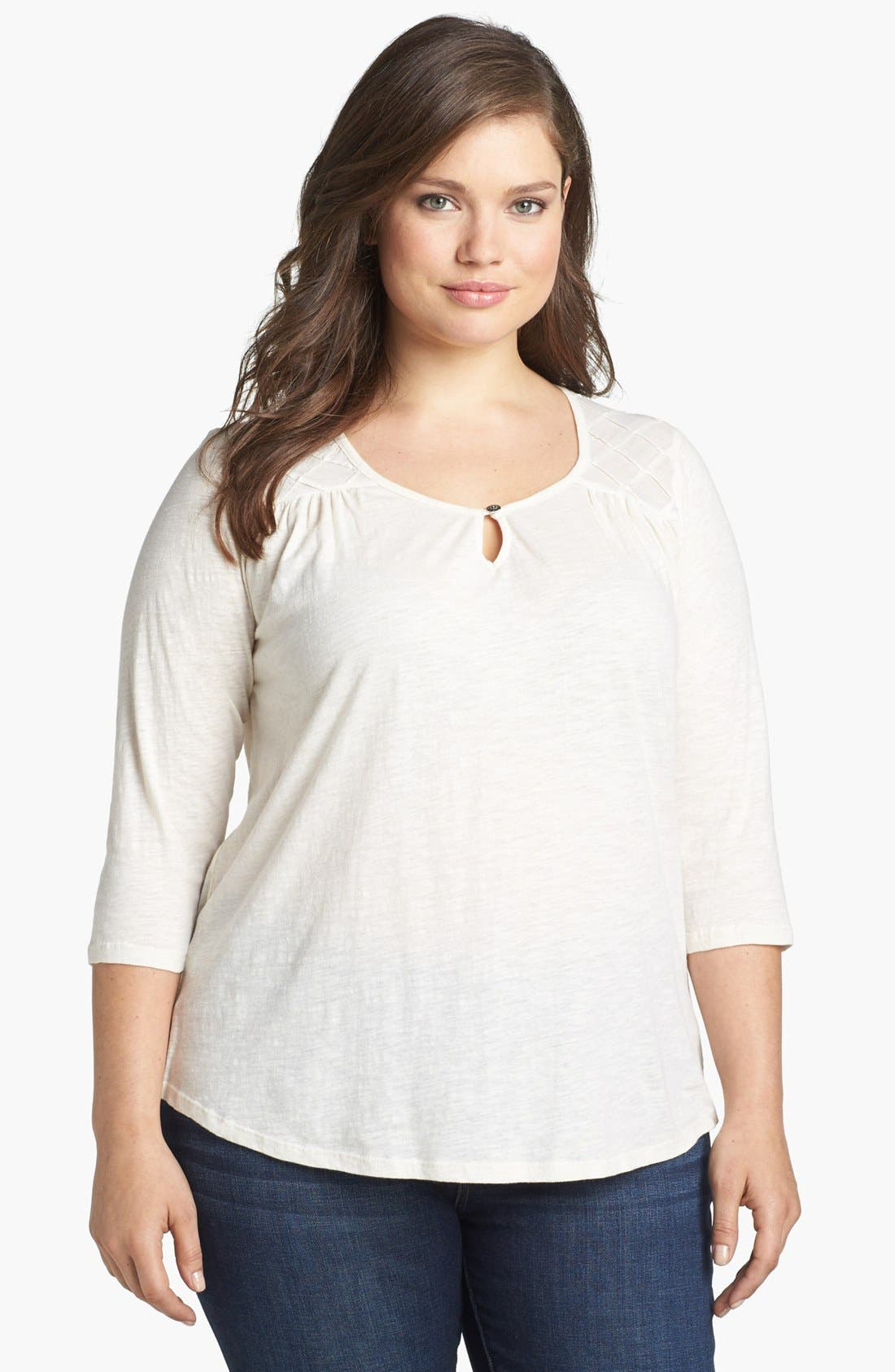 Alternate Image 1 Selected - Lucky Brand 'Elie' Quilted Yoke Top (Plus Size)