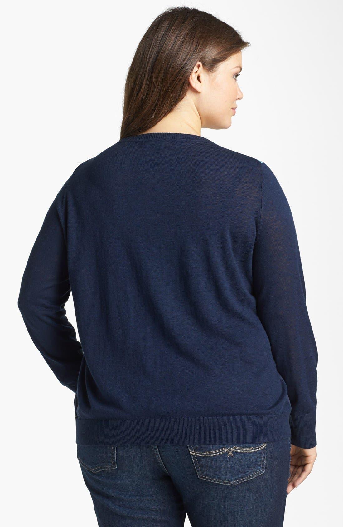 Alternate Image 2  - Lucky Brand 'Simoni' Scarf Print Cardigan (Plus Size)