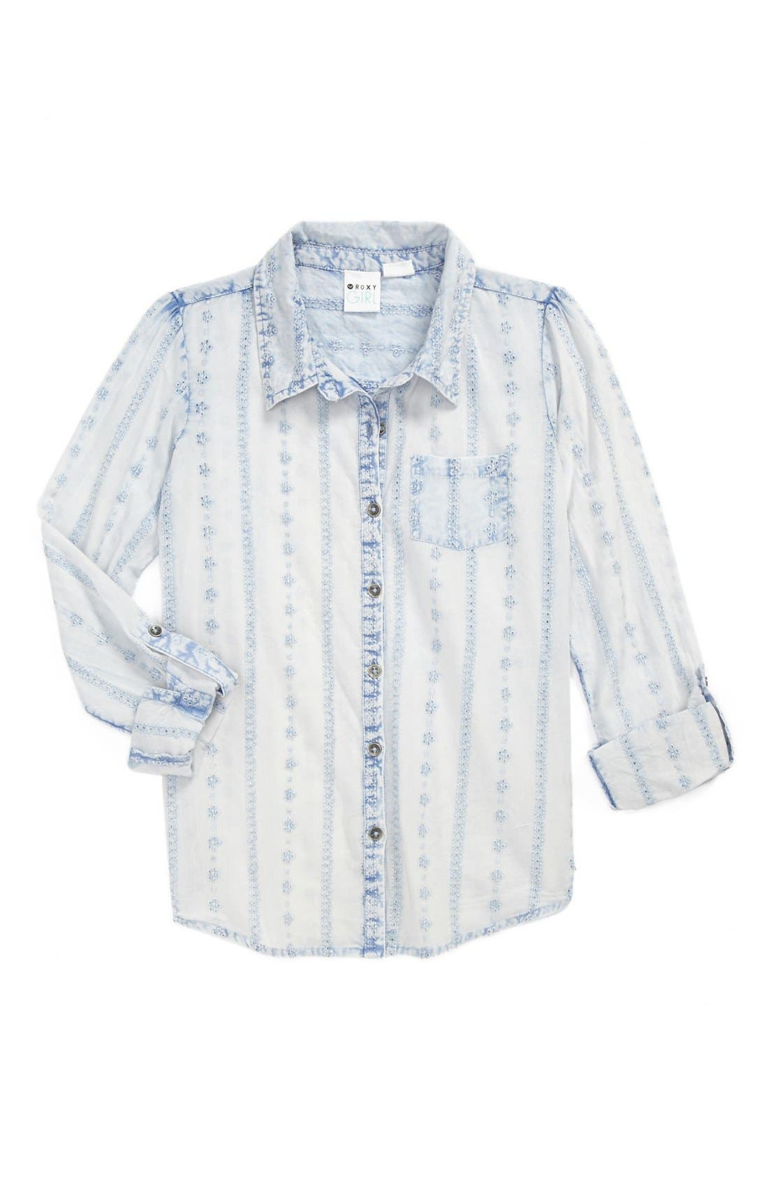 Main Image - 'Wise Up' Washed Woven Shirt (Big Girls)
